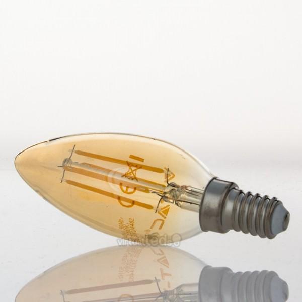 Bombilla led e14 4w 35w luz c lida 350lm amber filamento for Bombilla casquillo fino