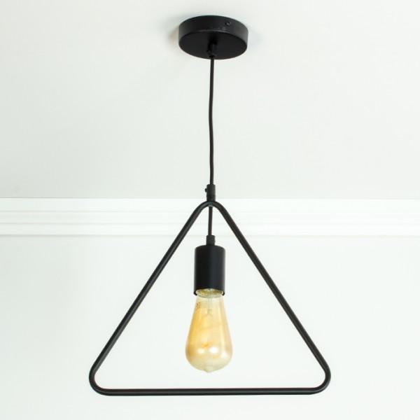 l mpara de suspensi n e27 triangle matt black. Black Bedroom Furniture Sets. Home Design Ideas
