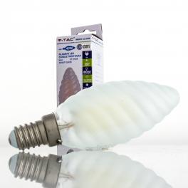 Bombilla led e14 4w 40w luz c lida 400lm vela t frostglass for Bombilla casquillo fino