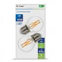 (2un) Bombilla LED E27 4W~40W 2700K 400lm G45 Filamento Glass