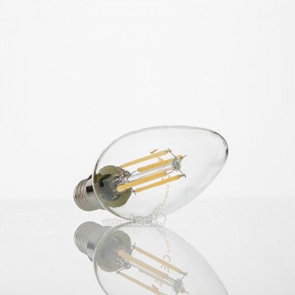 Bombilla led e14 4w 40w luz c lida 400lm vela clearglass for Bombilla casquillo fino