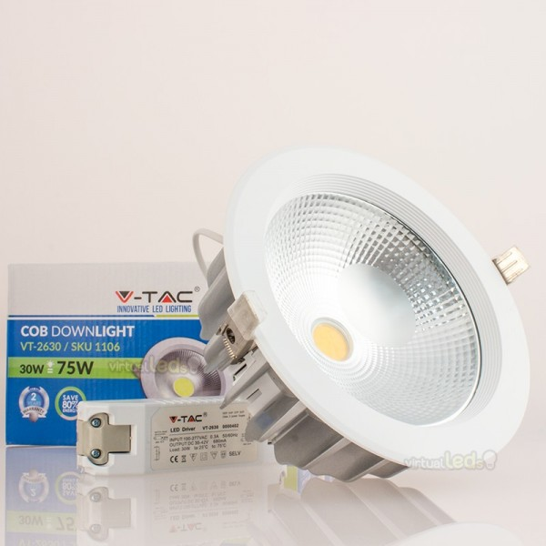 foco downlight led 30w 75w luz natural