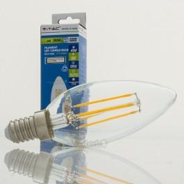 Bombilla LED E14 4w»30W Luz Cálida 320Lm Vela CLEARglass DIM