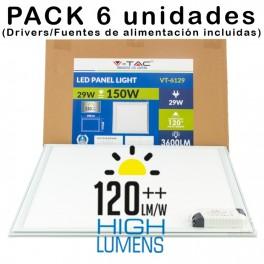 (6uds) Panel LED 29w 600x600 Luz Fría 3.600Lm MAXI Hi