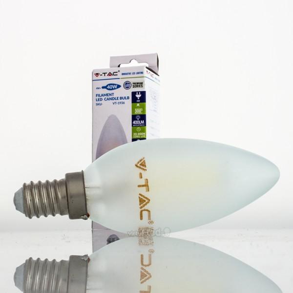 Bombilla led e14 4w 40w luz fr a 400lm vela frostglass for Bombilla casquillo fino