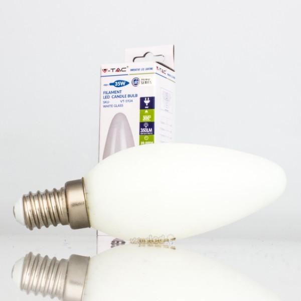 Bombilla led e14 4w 35w luz fr a 350lm vela whiteglass for Bombilla casquillo fino