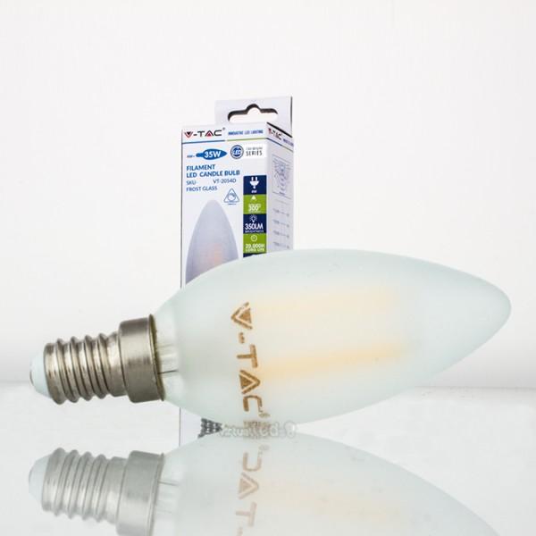 Bombilla led e14 4w 30w luz c lida 320lm vela frostglass for Bombilla casquillo fino