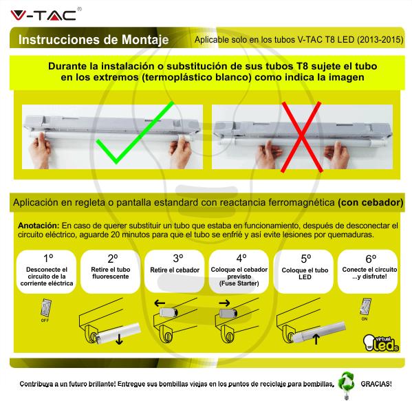 tubo-T8-led-instrucciones-montaje-aplicación-en-regleta-o-pantalla-estandard-con-cebador