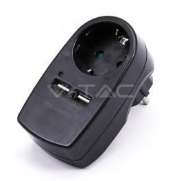 Adaptador de tomada c/terra e dupla entrada USB preto