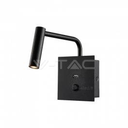 Aplique LED HOTEL c/ USB 3W 3000K 180lm preto