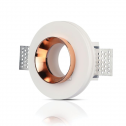 Aro GU10 fixo V-TAC GYPSUM branco c/aro interior ROSE GOLD r