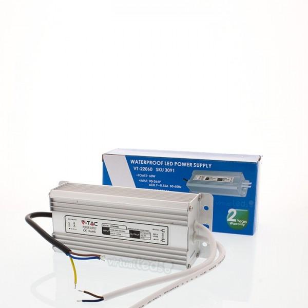 60w transformador 220v 12v 5a ip65 virtualleds portugal - Transformador 220v a 12v ...