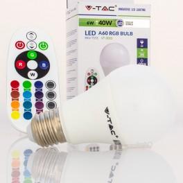 Lâmpada LED E27 RGB+W REMOTE 6w Luz Natural e RGB c/ comando